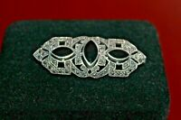 Marcasite Sterling Silver vintage  Pin,Brooch with Onyx Stone
