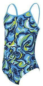 Zoggs Junior Girls Tie Marbling Cut Out Back Swimming Costume Ages 6 - 14 Years