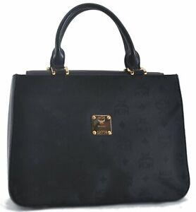 Authentic MCM Nylon Leather Vintage Hand Bag Black C5549