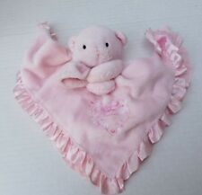 Carters Just One Year Sweet Heart Bear Pink Satin Baby Security Blanket Rattle