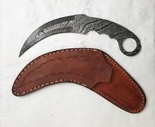 "9"" Damascus Karambit blade Knife making blank w/ leather sheath - Payne Bros"