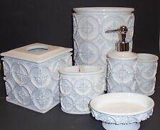 6 Pc Blanco 3D Círculo Textura Resina Dispensador Jabón + Vaso + Pañuelos +