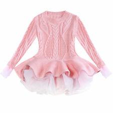 Kids Baby Girls Knitted Sweater Top Winter Pullovers Crochet Princess Tutu Dress