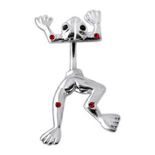 925 Sterling Silver Jeweled With Jumping Frog Spinal Belly Button Ring
