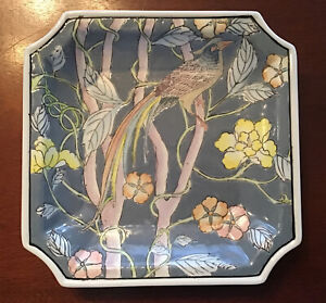 Oriental Pastel Partridge In Trees With Flowers Ceramic Square Decorator Plate
