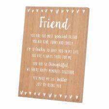 Amigo especial sentimientos del corazón de pie de madera Placa Regalo