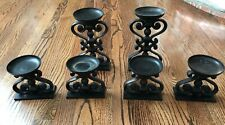 "4"" & 9"" Pottery Barn Scrolly Pillar Candle Holders Wrought Iron Black Set of 6"
