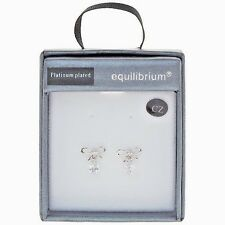 Gift Boxed Equilibrium Platinum Plated Dangly Bow Earrings Diamante Crystal Gems