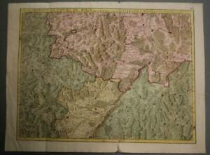RHINE RIVER ALSACE FRANCE & GERMANY 1704 DE L'ISLE ANTIQUE COPPER ENGRAVED MAP