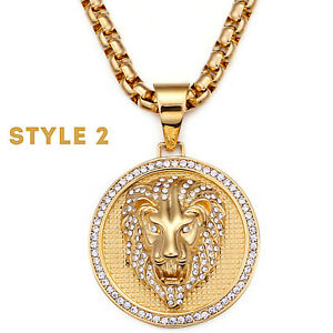 Men's Biker Jewelry, Large Lion Medallion with Crystals Pendant Necklace