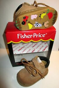 Fisher Price Brown Leather High Top Work Boots Size 3 BABY 6-9 MONTHS W/BOX