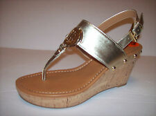 New TOMMY HILFIGER Women's gold high wedge heel sandals US Sz 9.5M