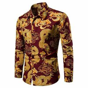 Summer Men's Long sleeve Shirts Button Front Printed Dragon Beach Blouses M-4XL