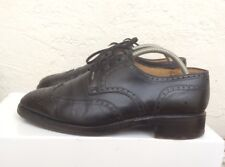 Chaussures Bally Prestige Uk 7.5 41.5 Cuir Noir Suisse Brogues Anglaise Wing Tip