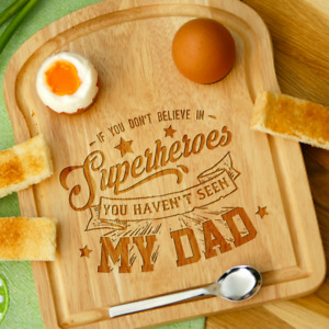 Personalised Engraved Dippy Egg Toast Board for Dad Superhero Fathers Day Gift