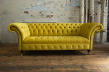 MODERN HANDMADE 3 SEATER BRIGHT CANARY YELLOW VELVET CHESTERFIELD SOFA, COUCH