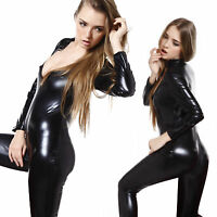 Sexy Wetlook ZIPPER Bodycon Catsuit Zentai Jumpsuit Catwomen Bodysuit Outfit Pro