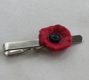 Handmade in UK - Unusual Fimo Red & Black Poppy Flower Mens Man Tie Slide