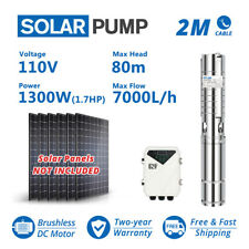 """4"""" Solar Water Pump S/S Impeller 260Feet 31GPM Submersible DC Deep Bore Well"""