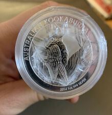 Sealed Roll of 20 Encapsulated 2014 1 Oz Silver Australian Kookaburra Coins