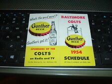 1954 Baltimore Colts Football Schedule 2nd YEAR NFL Gunther Beer Bi-fold