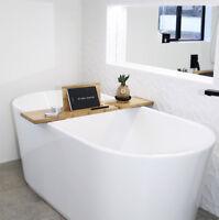 The Relax-a-Mate Premium Bamboo Bath Caddy Shelf - As seen on The Block TV show