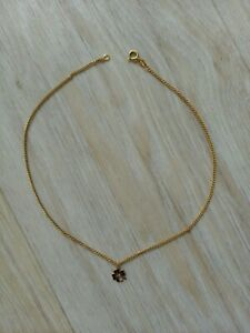Damen Kette Halskette gold Kleeblatt mit Zirkonia *wie neu*