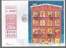 San Marino 1996 FDC CAPITOLIUM Foglietto Natale ANNULLO SPECIALE e ARRIVO RETRO