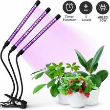 3 Head 60 LED Grow Light Full Spectrum Desk Clip Lamp Indoor Plants Seed 1500lm