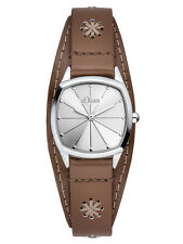 s.Oliver Damen Armbanduhr Analog Quarz Leder Braun Silber SO-3004-LQ
