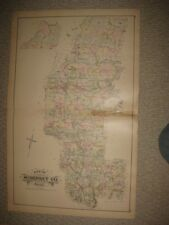 LARGE ANTIQUE 1884 SOMERSET COUNTY MAINE HANDCOLORED MAP SKOWHEGAN ANSON CANAAN
