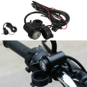 3A Waterproof Motorcycle Dual USB Socket Power Phone Car Charger 5V Line Supply