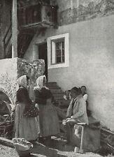 D1687 Campitello - Lo Spaccalegna con le Comari - Stampa antica - 1926 old print