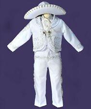 Beautiful 5 pieces Boy Charro Suit,White W/Silver Charro Suit W/Hat,Charro 4T