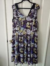 City Chic Purple Pastel Floral Lace Pleated Dress Size M