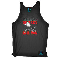 Scuba Diving Vest Funny Novelty Singlet Jersey Top - Sharks Kill You