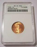 1999 Lincoln Memorial Cent Error Broadstruck MS64 RED ANACS