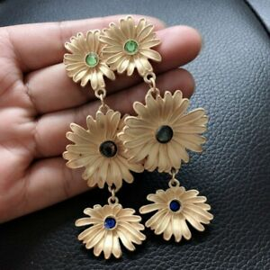 Retro Sunflower Turquoise Crystal Earrings Ear Hook Dangle Drop Gift Jewelry New