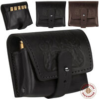 Leather Rifle Ammo Shell Holder Pouch For Hunting .30-30 .308 .303 cal Embossed