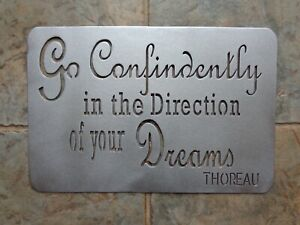 Thoreau Go Confidently Plasma Cut Metal Wall Art 18 x 12 Textured Silver Finish