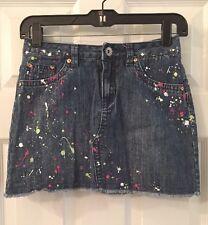 Justice Denim Splattered Paint Skirt/Skort Girl Sz. 14 EXC