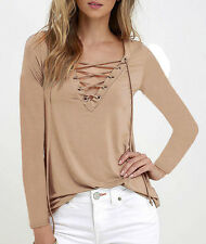 Women Ladies Lace up V-neck T-shirt Blouse Casual Long Sleeve Tops Shirt UK 6-20 Khaki Uk16