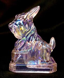 Boyd Art Glass Pearly Pink Carnival JB Scottie Dog #56 Made 1-20-2003