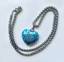 """Blue Enamel Stainless Steel Pendant & 20"""" Wheat Chain Necklace"""
