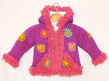 Kinder Strickjacke Gr.80/86 lila Blumen,100% Schafwolle Fleece Futter XXL-Kapuze