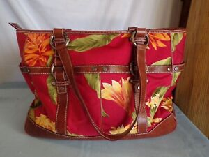 (Q) Tommy Bahama Floral Leather Trim Satchel/Tote Travel Bag Hawaii