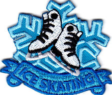 """""""ICE SKATING"""" IRON ON EMBROIDERED PATCH - SKATER - SPORTS - DANCE - WINTER"""