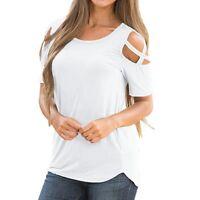Donna Casual camicia a manica corta maglia spalle scoperte Larga T-shirt TOP