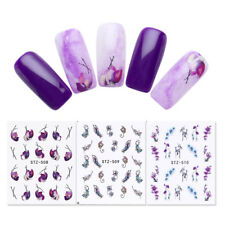 3 Sheets Nail Art Water Decals Purple Flowers Leaves Butterfly Transfer Stickers