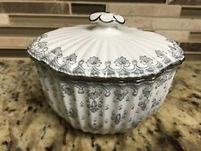 Spode Fleur de Lys Grey Gray Sugar Bowl Platinum Trim Bone China.England. Patter